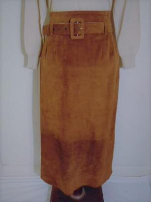 VINTAGE 70s 80s CAPEZIO BROWN SOFT SUEDE LEATHER HIGH WAIST BELTED LONG SKIRT 12