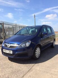 vauxhall zafira 2008, 1.9 diesel, 7 seats, long MOT, low miles