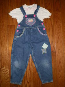 girl 4T overall jean with shirt -- oshkosh