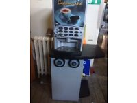Hot drinks vending machine with all pipes to plumb in and storage