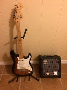Squire Electric Guitar and Roland Amp