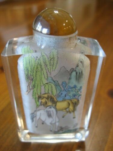 Asian Snuff Perfume Bottle Horses Reverse Painted w/Case rectangle Glass Vintage