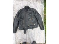 Leather jacket XL and trousers 34inch waist in black.