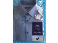 """Tailor & Cutter Mens Blue Checked Shirt 16"""" Brand New Sealed"""