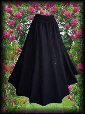 Mittelalter Rock Baumwolle Leinenoptik schwarz lang 36 38 40 42 44 46 Larp SCA