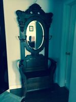 Cherry? Antique Hall Seat with Bevealed large Mirror