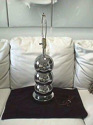 Vintage Mid Century Modern Chrome Triple Ball Tube Table Lamp/ Sonneman Eames