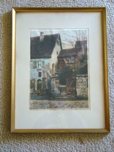 Vintage Framed ROTHENBURG GERMANY Etching On Silk, Signed ERNST GEISSENDORFER