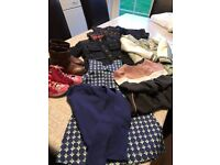 Girls clothing bundle including coats, winter boots and baseball boots