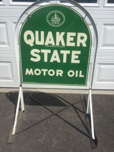 Vintage Quaker State thick Metal Tombstone Sign double sided w/ Original Stand