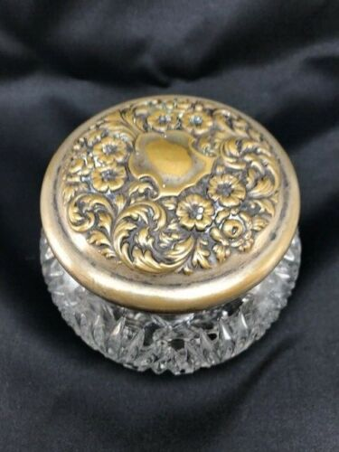 ANTIQUE REPOUSSE LID DETAILED GLASS VANITY DRESSER POWDER JAR