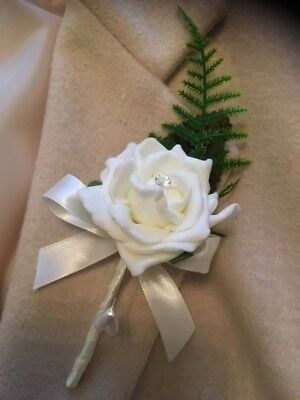 Single Ivory rose  Buttonholes corsage pin