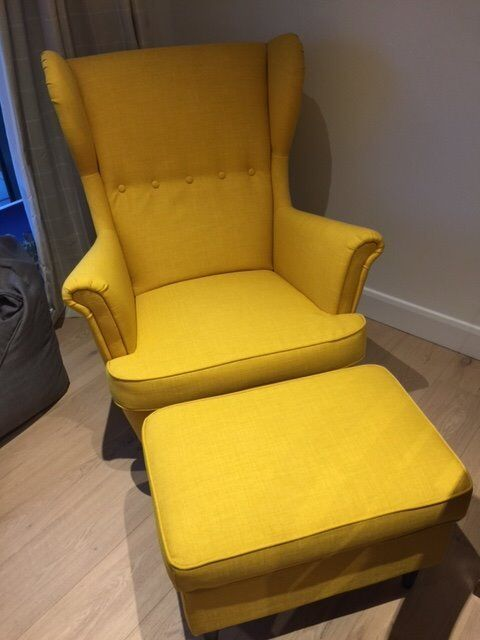 strandmon wing chair and footstool in skiftebo yellow by. Black Bedroom Furniture Sets. Home Design Ideas