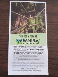 WILDPLAY EXTREME COURSE TICKET. $43