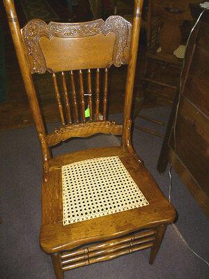 (Antique Oak Chair Press Back Ornate Cane Seat Refinished Re Glued Kitchen)