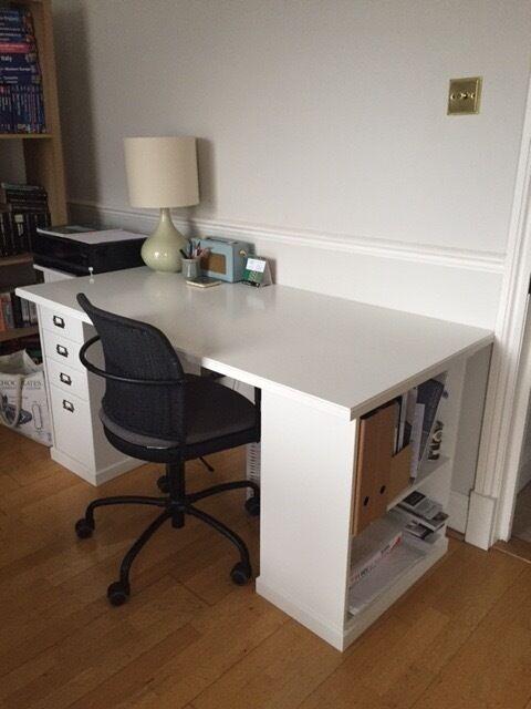 White Klimpen Ikea Desk Amp Gregor Swivel Chair In