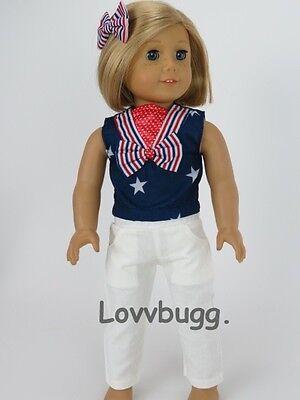 "Lovvbugg Patriotic Pants Set for 18"" American Girl Doll Clothes"