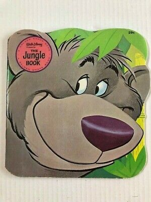 VINTAGE 1967 Walt Disney THE JUNGLE BOOK RARE Golden shape book VG condition
