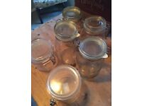 Bulk listing of Storage Jars (4 glass (tall); 2 stubby (acrylic))