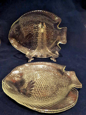"Vintage Set of 3 ARCOROC Clear Glass Ovenproof Fish Plates, 11"" x 8"""