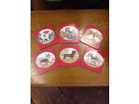 Vintage *CESAR* Pedigree Cute Small Toy Dogs Laminated Coasters x 6 COLLECTABLE