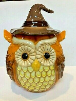 """Cracker Barrel Ceramic Owl Cookie Jar With Witch Hat Fall Harvest 10"""" in box"""