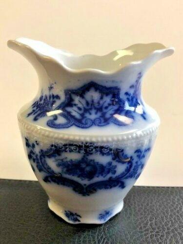 """Flow Blue 4 1/2"""" vase Portman Pattern WH Grindley England"""