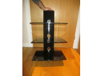 DVD, Wii, Sky Box, Blueray Modern Floating Black Glass Shelves with cable tidy