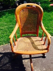 Antique Oak and Wicker Desk Chair