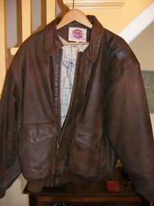 MENS' BROWN LEATHER FLYING JACKET...Size 40