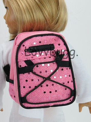"Lovvbugg New Pink Sequin Backpack for 18"" American Girl Doll Accessory"