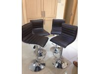 BAR STOOLS FOR SALE GOOD CONDITION BROWN LEATHER WITH SILVER TRIM - A MUST VIEW