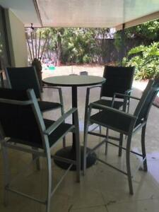 Outdoor Round Bar Table and Four High Chairs