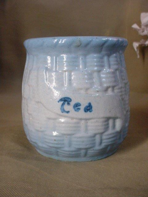 ANTIQUE Blue White STONEWARE BasketWeave Morning Glory TEA CANISTER SPICE JAR