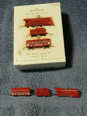 Lionel The Red Comet Set 3 Miniature Hallmark Christmas Ornaments, 2009 - NEW