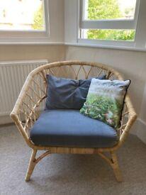 IKEA BUSKBO rattan armchair with grey velvet cushions for sale! Like new!