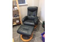 Stylish faux leather recliner chair with wood base, complete with co-ordinating foot stool