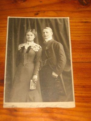 Großes altes CDV Verlobungsbild um 1900 ? Atelier Arnold Overbeck in Düsseldorf