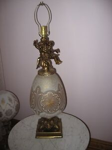 Vintage 2 Beautiful Etched Glass LAMPS with Cherub Decor