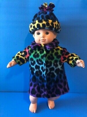 CLOTHES FOR /BITTY BABY RAINBOW LEOPARD FLEECE  COAT AND covid 19 (Fleece Doll Hat coronavirus)