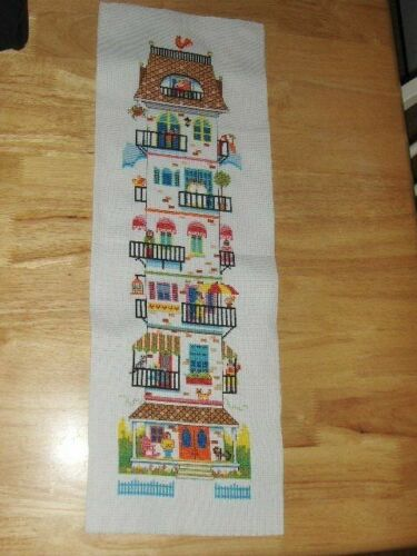 "NEW completed cross stitch The Apartment House 6""X24"""