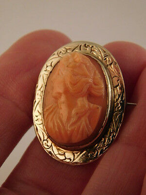 10K GOLD CARVED CORAL CAMEO PIN BROOCH VINTAGE