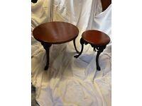 2 Tables, cast iron legs & hard wood tops