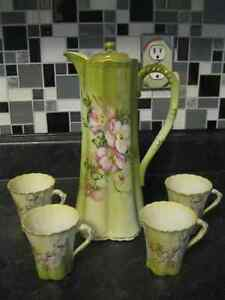 JAPANESE HANDPAINTED CHOCOLATE / TEA POT WITH 4 CUPS