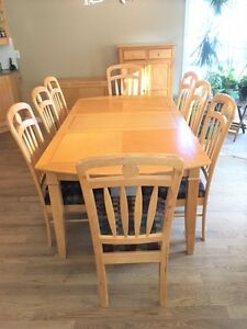 Dining Room Set, 8 chairs with Side board and side table (wood)