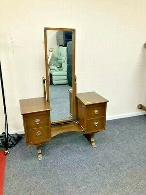 Vintage Old Charm Style Dark Oak Dressing Table With Full Length Mirror - CS L52