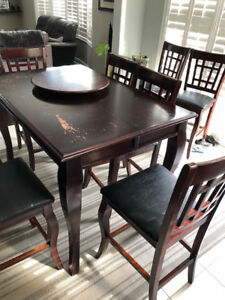 8 Seat Pub Style Table with Lazy Susan