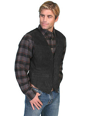 New Men's Suede Snap Front Western Cowboy  Rodeo Dress Vest Black - Vest Cowboy