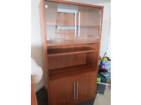 Lovely Ikea storage cabinet, 6 shelf, 2 wood door cupboard, 2 glass door display, office unit desk
