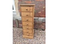 Solid Pine Tallboy Chest of Drawers in VGC with 7 Drawers Very Well Made Bedroom Cabinet